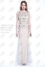 2016 FM Neueste Design Bodenlangen Sleeveless Halsausschnitt Crystals Mermaid Champagne Lange Abendkleid Nach Maß Irgendeine größe