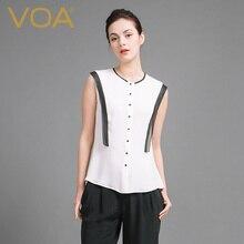 VOA Summer Sleeveless Silk Blouse 2017 Fashion New Brief Women Slim Office White Shirt Gift For Girlfriend B6921