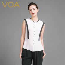 VOA Summer Sleeveless Silk Blouse 2017 Fashion New Brief Women Slim Office White Shirt Gift For Girlfriend B6921