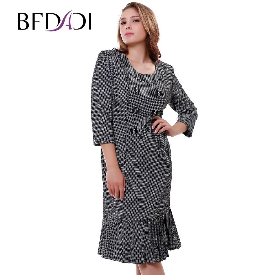 Hot sale Women s dresses Autumn Casual Work dress Small Plaid Vintage Pleated Flounced hem Mid
