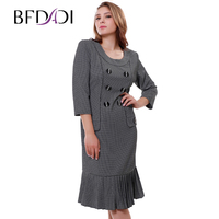2015 Women Spring Casual Free Shipping Work Dress Large Size Vintage Pleated Plaid Print