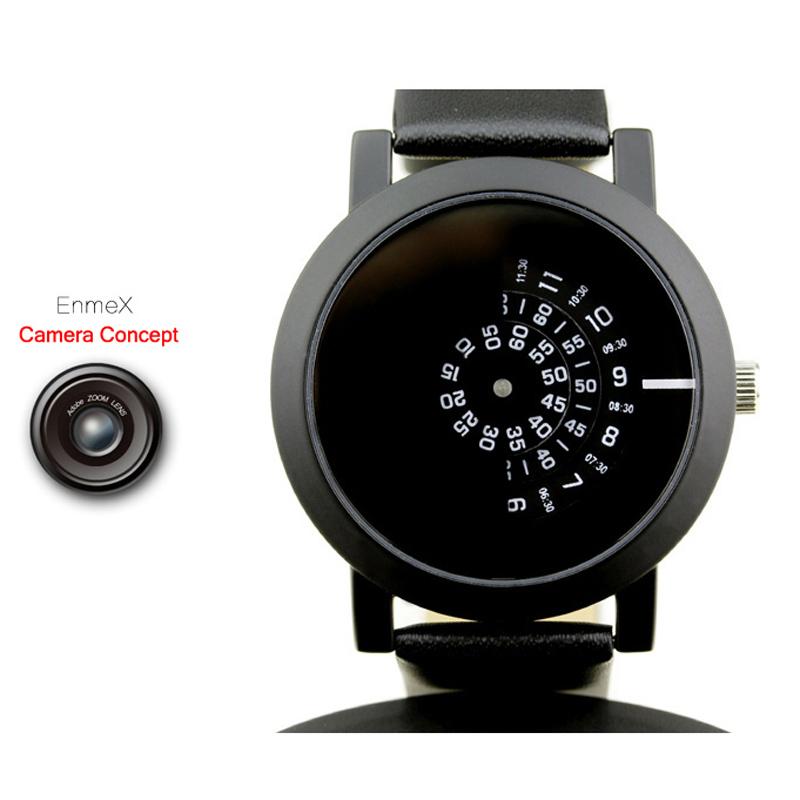 Prix pour 2017 enmex creative design montre-bracelet caméra concept brève conception simple spécial numérique disques mains mode montres à quartz