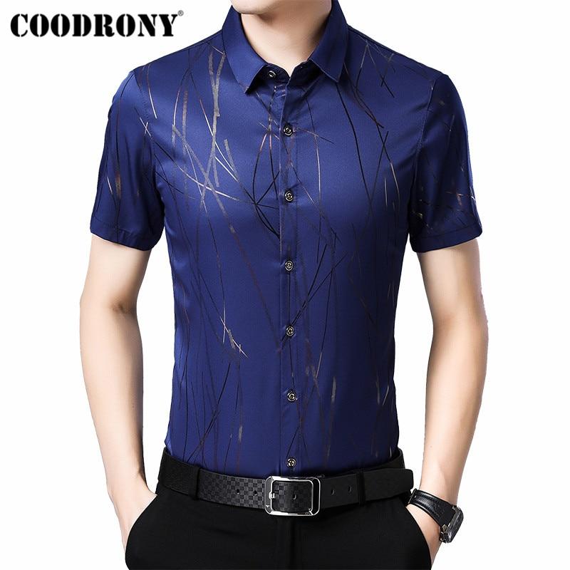 COODRONY 2019 Summer Cool Short Sleeve Men Shirt Fashion Striped Shirt Men Social Business Casual Shirts Camisa Masculina S96024
