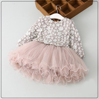 High Quality Spring Girls Petal Dress Baby Girls Princess Long Sleeve Tutu Clothing 2 7y Toddler