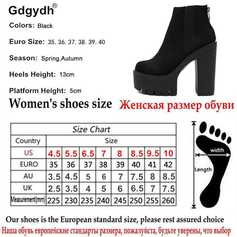 Gdgydh Mode Noir bottines Pour Femmes Épais Talons Printemps Automne Troupeau chaussures à semelles compensées talons hauts Noir Zipper Dames Bottes - 6