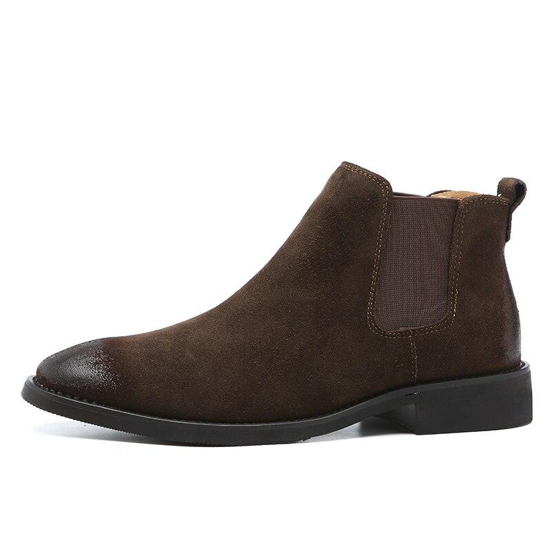 Image 2 - 2019 בציר גברים נעלי עור אמיתי צ לסי מגפי זמש קרסול אתחול גברים של אופנה אביב סתיו מגפיים להחליק על נעליים zapatos-במגפי צלסי מתוך נעליים באתר