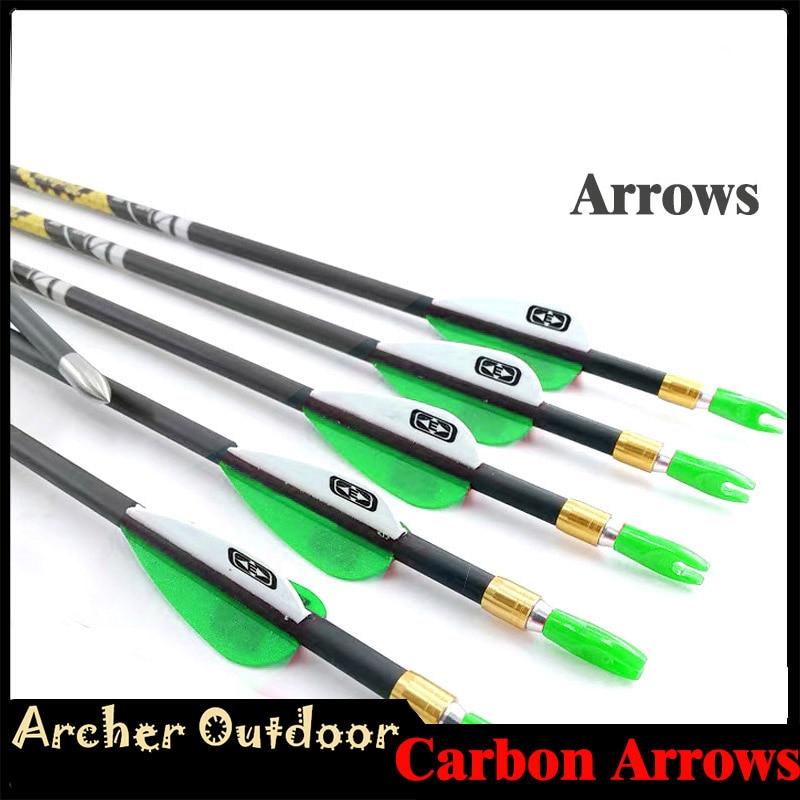 12pcs Pure Carbon Arrows Spine 350 400 450 500 600 700 750 800 30 5inch ID4