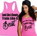 Посмотрите , как красоты поезд , как зверь женщин майка рубашки тренировки тренажерный зал одежды дамы XS-XXL