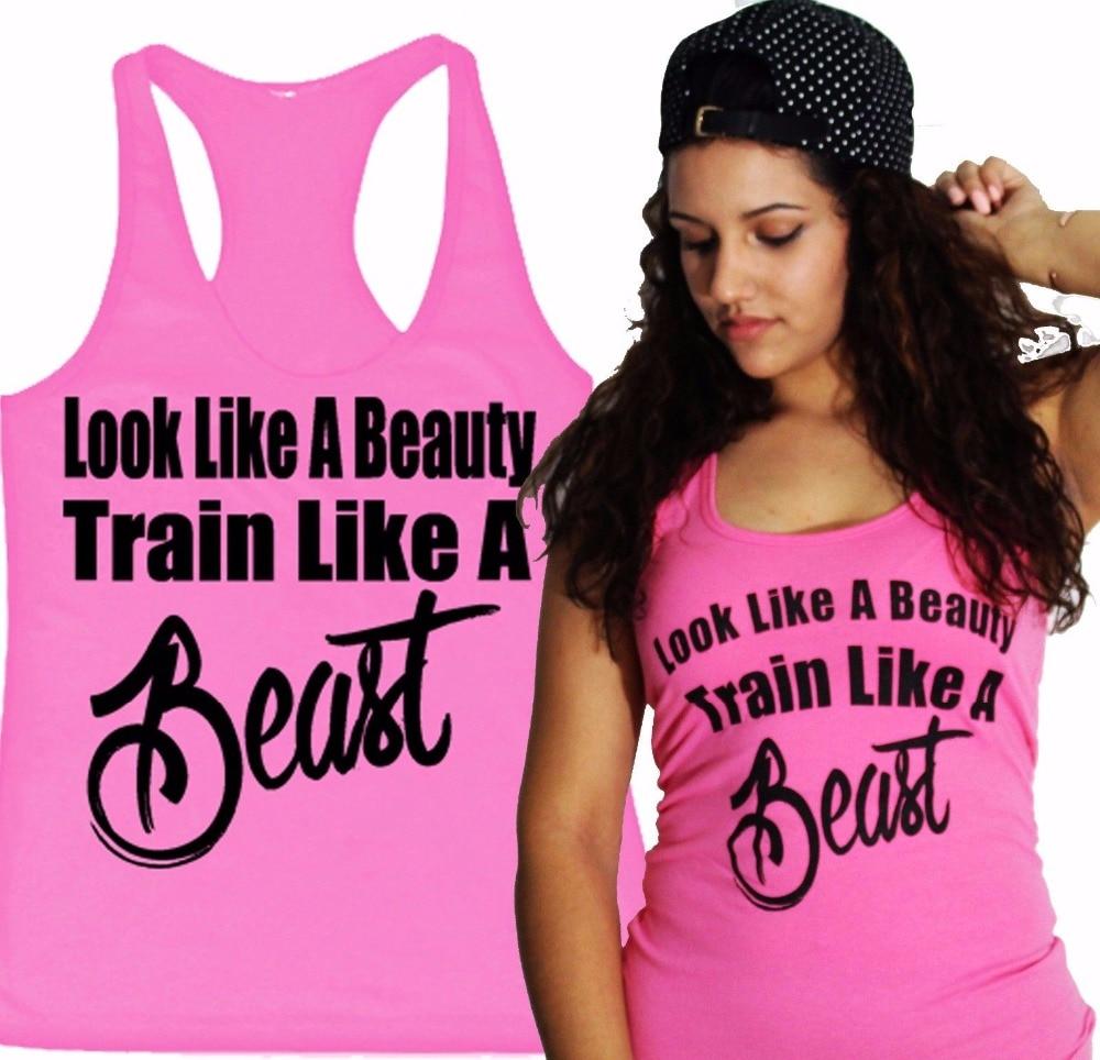 Look Like A Beauty Train Like A BEAST Women   Tank     Top   Shirt Workout Fitness GYM Clothing Ladies XS-XXL