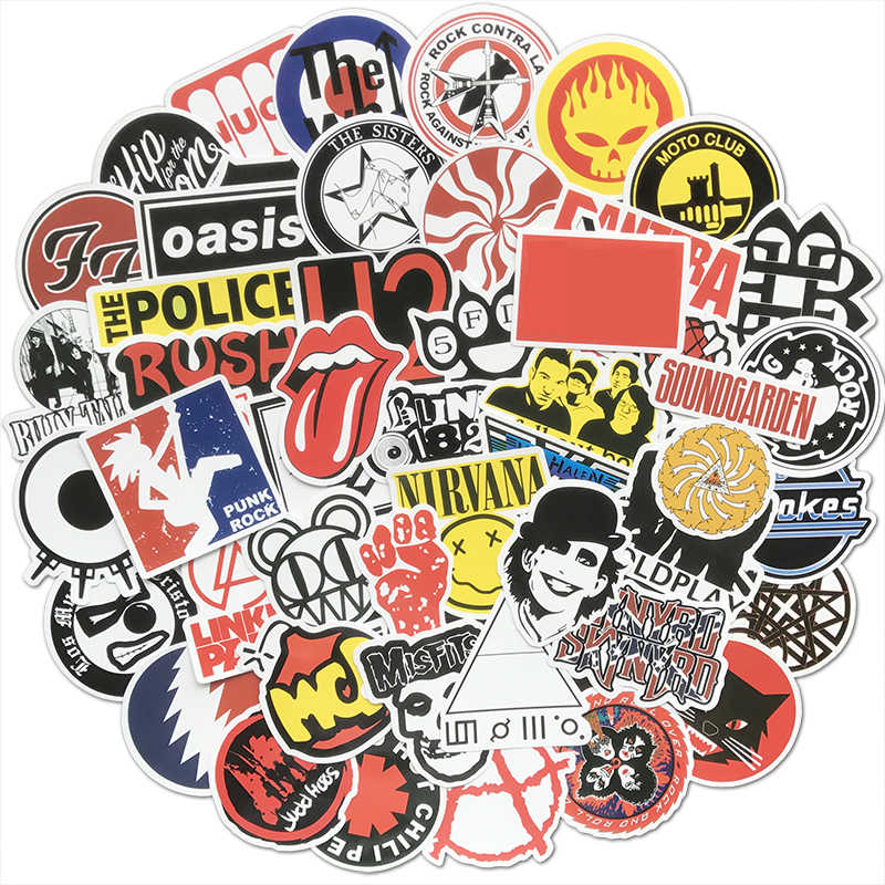 50Pcs Retro Rock Band Stickers Muziek Graffiti Jdm Waterdichte Sticker Pack Voor Skateboard Bagage Laptop Auto Motorcycle Decal