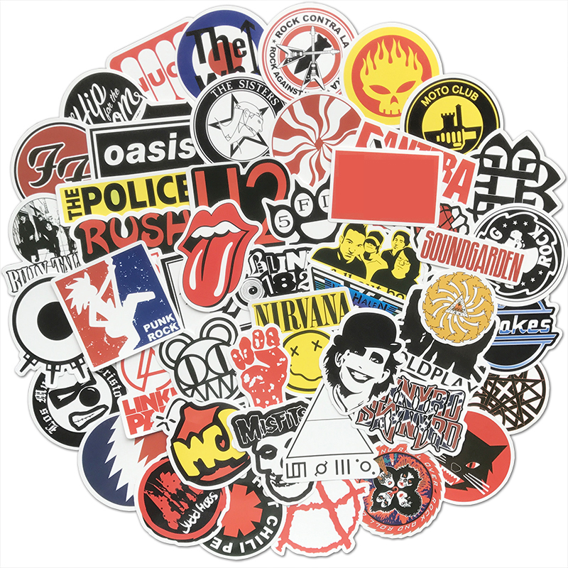 50Pcs Retro Rock Band Stickers Music Graffiti JDM Waterproof Sticker Pack For Skateboard Luggage Laptop Car Motorcycle Decal