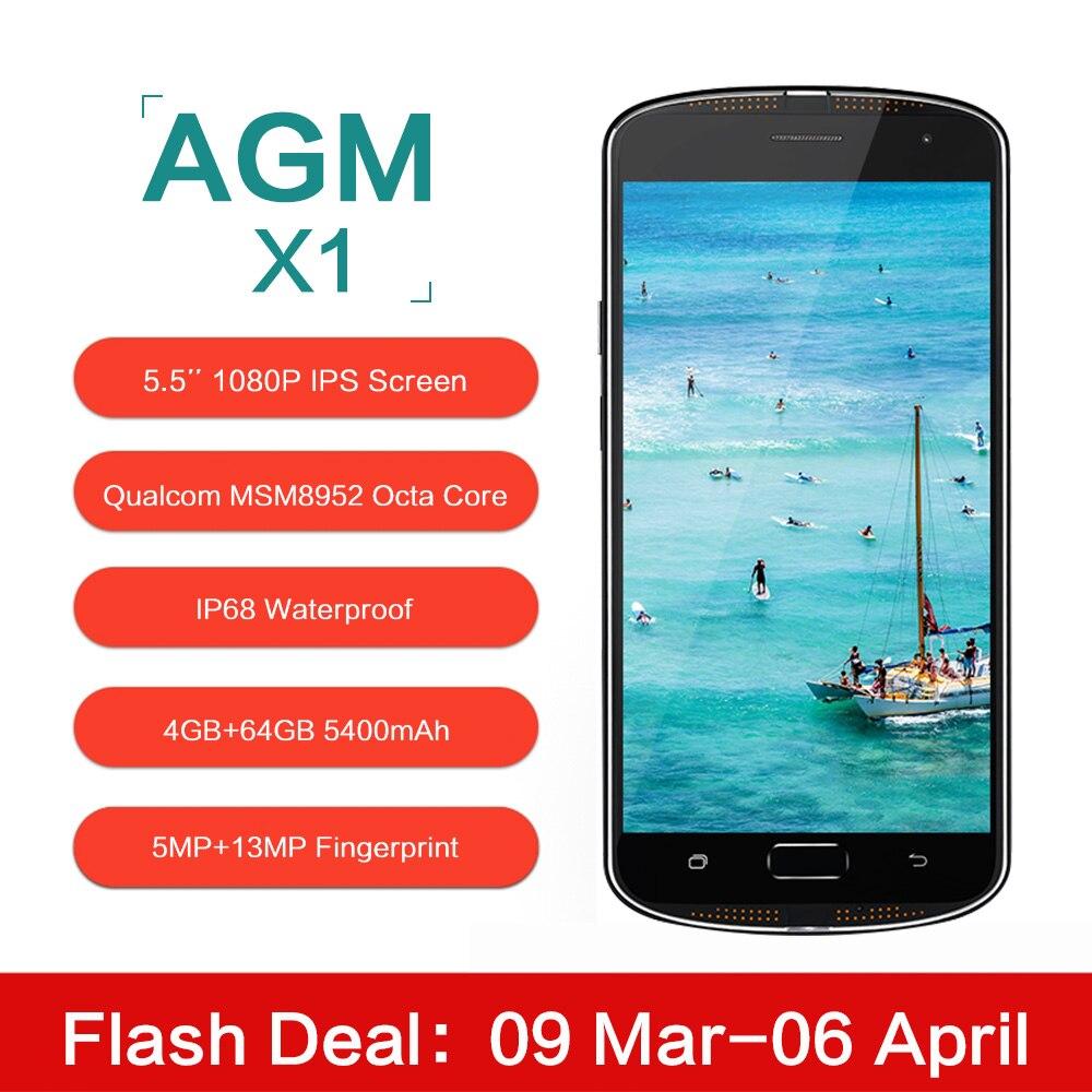 Цена за Оригинал agm x1 5.5 дюймов ip68 водонепроницаемый 4 г мобильный телефон qualcom msm8952 окта основные 4 ГБ ram 64 ГБ rom 5400 мАч 13mp смартфона