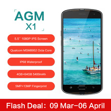 Original AGM X1 5.5inch IP68 Waterproof 4G Mobile Phone Qualcom MSM8952 Octa Core 4GB RAM 64GB ROM 5400mAh 13MP Smartphone