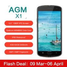 Оригинал AGM X1 5.5 дюймов IP68 Водонепроницаемый 4 Г Мобильный Телефон Qualcom MSM8952 Окта основные 4 ГБ RAM 64 ГБ ROM 5400 мАч 13MP Смартфона