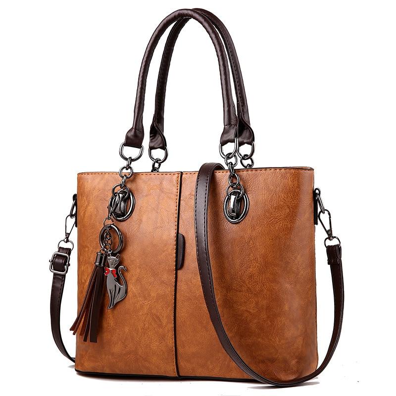 Women Bag Vintage Casual Tote Fashion Women Messenger Bags Shoulder Student Handbag Purse Wallet Leather 2018 New