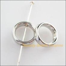 Novo 100 pçs maçante prata chapeado acrílico redondo espaçador grânulos encantos do quadro 12mm