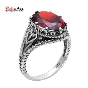 bd8a8705c1c4 Szjinao venta al por mayor de joyería granate Oval de cristal de diamantes  de imitación de Plata de Ley 925 anillos de boda y de compromiso para las  mujeres