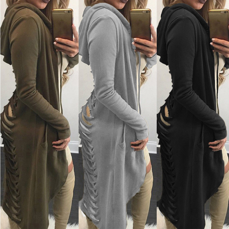 New Style In Autumn 2017 Gothic Women Ladies Cut Out Long Ripped Long Sleeve Back Hollow Out Hooded Hoodie Coat