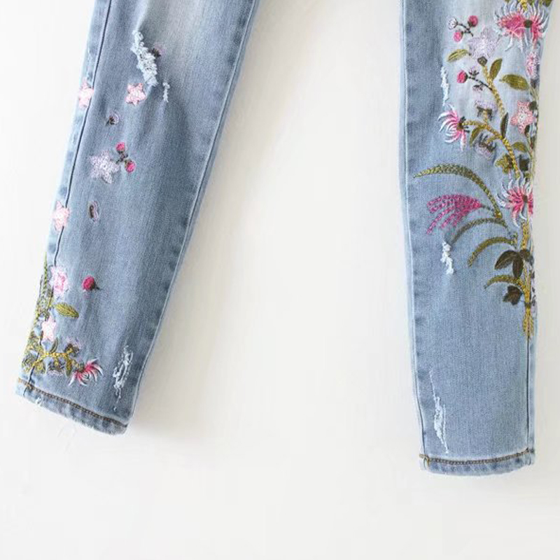 GOPLUS 2019 New Boyfriend Jeans Ripped High Waist Dense Denim Floral Embroidered Jeans For Women Plus Size Pencil Pants C6925 in Jeans from Women 39 s Clothing