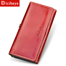 Купить с кэшбэком DICIHAYA Genuine Leather Women Wallets Wax oil Leather Long Ladies Wallets Clutch Design Purse Hand Bags Women Purses Phone Bag
