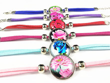 Jiangzimei 24pcs Red Blue Pink Rose Flower Lotus Glass cabochon Ethnic Style Retro Tassels bracelets for girls party