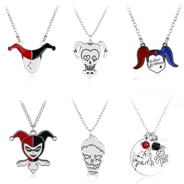 Suicide Squad Necklace Harley Quinn Joker Alloy Metal Pendants