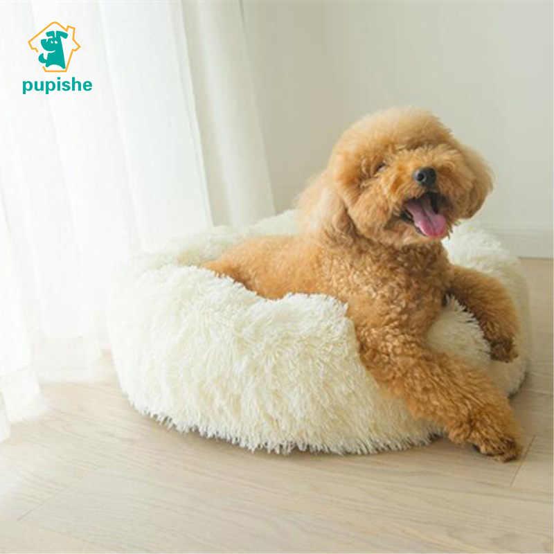 Роскошная кровать собаки из искусственного меха круглый пончик Подушка кровать для маленьких собак и кошек Уютный Comfy собака дом кровать супер мягкий хлопок Mascotas