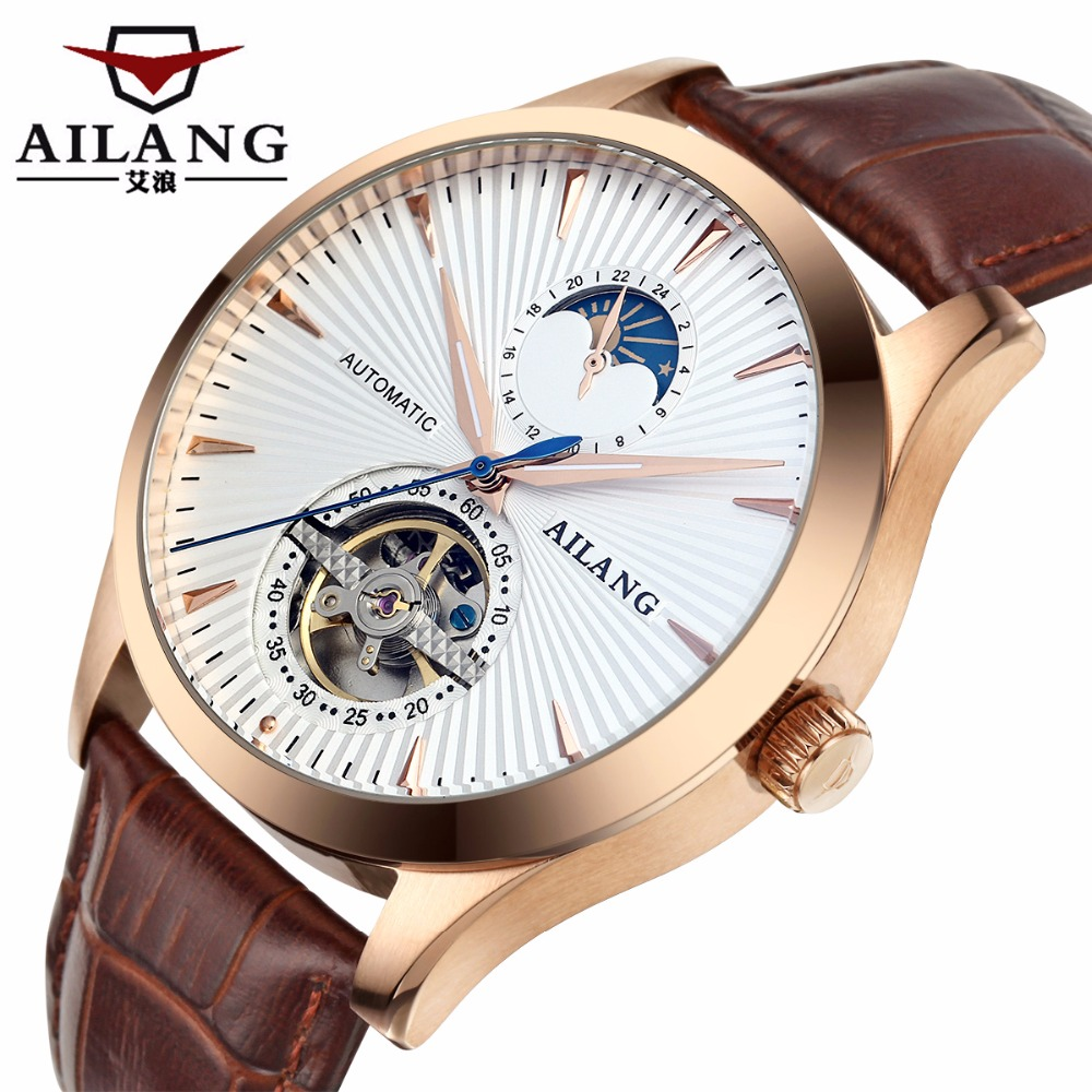 Luxury Brand ailang men Automatic Mechanical Watches Tourbillon Watch Men leather strap Sapphire Calendar Clock Male ailang brand men automatic self wind watches leather skeleton tourbillon mechanical clock male rose gold shell watch new