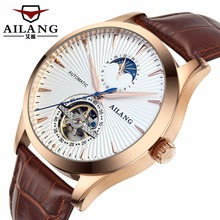 все цены на Luxury Brand ailang men Automatic Mechanical Watches Tourbillon Watch Men leather strap Sapphire Calendar Clock Male онлайн