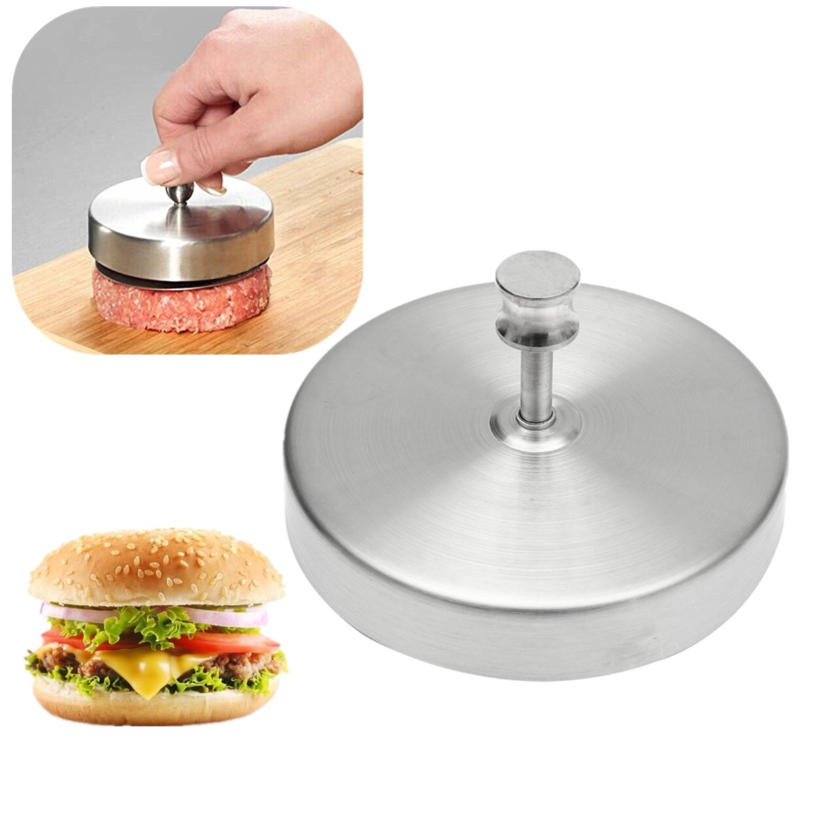 Non Stick Stainless Steel Hamburger Press Patties Pizza Burger Mold ...