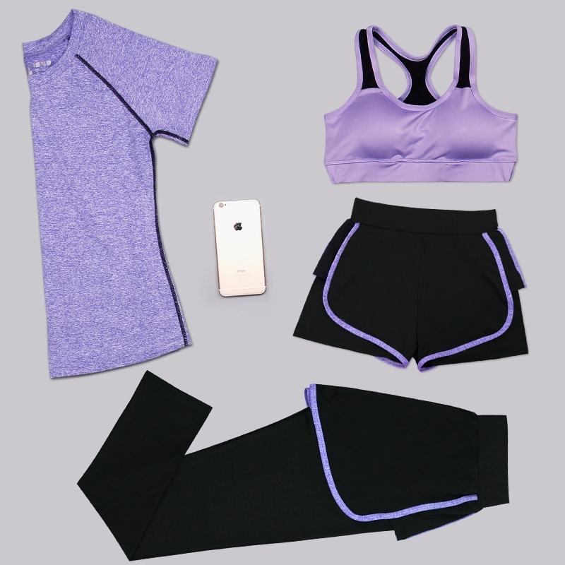 Aipbunny 4 Pieces Yoga Sets 2017 Gym Fitness Women Exercise Activewear Running Suits Plus size XXXL Workout Clothing SportsWear 3