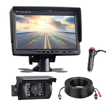 Backup Camera Kit, 7 inch Lcd Rear View Monitor With Ip67 Waterproof Night Visible Back Up Rearview Reverse Cam For Trucks, Rv