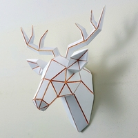 WARM TOUR Geometric Deer Wall Ornaments Cabinet TV Family Decorative Pop Art Craft Ornament Simulation Resin Crafts Love Gift C