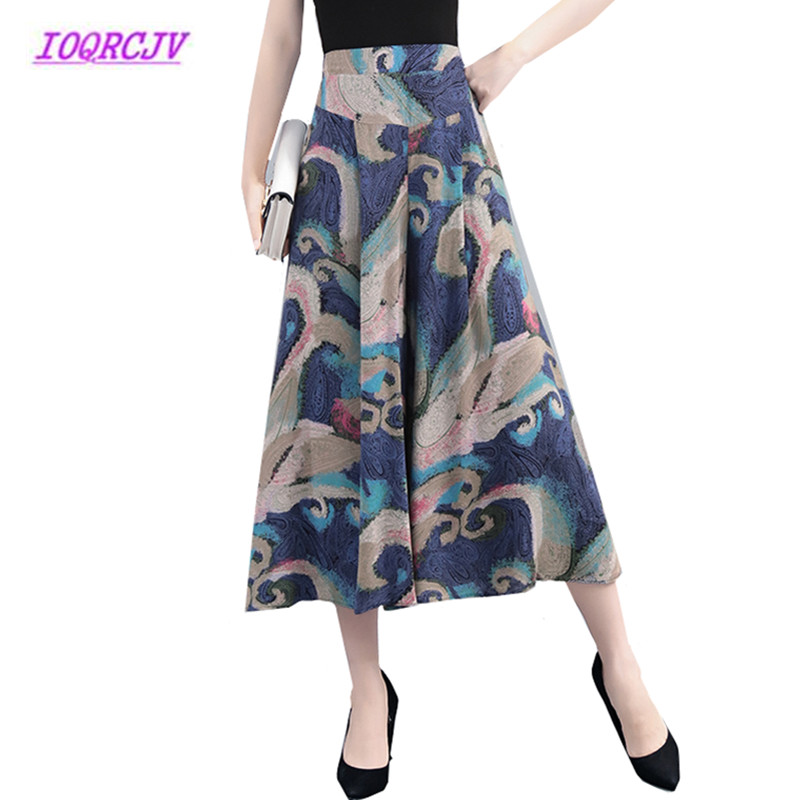 Summer High waist Chiffon Cropped   pants   Plus size Women   Wide     leg     Pants   Flower Trousers Printed Large   Wide     Leg     Pants   Skirt B059