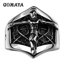 GOMAYA 316L Stainless Steel Jesus Cross Rings for Men Cool High Quality Punk Rock Tibetan Vintage Retro Religious Belief Jewelry