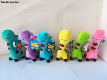 lovely cartoon giraffe about 18cm plush toy soft dolls one lot/ 12 pieces toy children's toy gift h2455