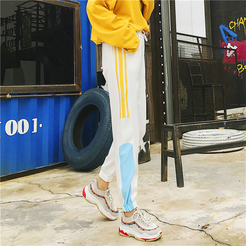 Cargo Pants Women Patchwork Long Pants High Waist Side Striped Black Trousers Student Elastic Waist Harajuku Plus Size Bottoms 54