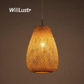 Chinese Style Bamboo Weaving Pendant Lamp Hand Knitting Hotel Restaurant Bedroom Zen Handmade Wood Hanging Suspension Light - DISCOUNT ITEM  30 OFF Lights & Lighting