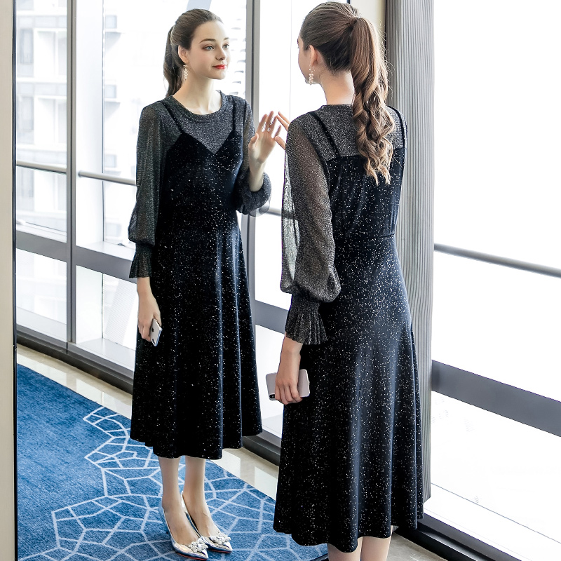 Kleid Vintage Rundhals Vintage Vintage Rundhals F Pailletten F Pailletten Pailletten Kleid 4R35AqjL
