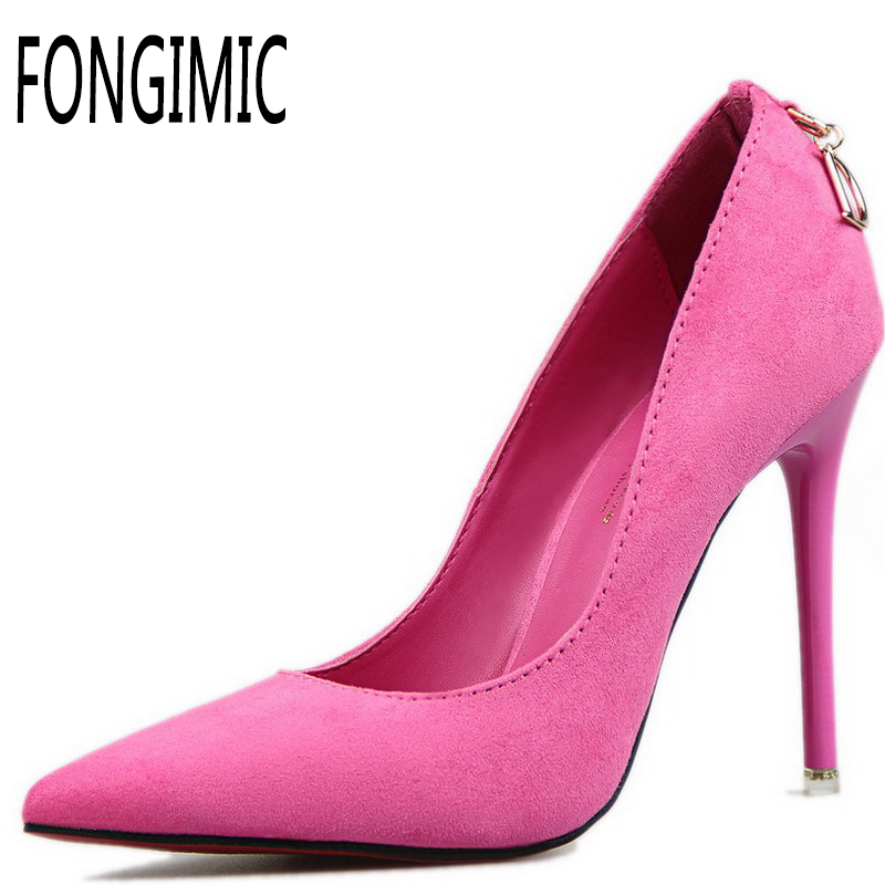 Spring Autumn Women Pumps Comfortable Style Pointed Toe Flock Leather Thin High Heels Pumps Lady Casual Slip On Shallow Shoes 2015 autumn korean style pointed shoes with thin heels original glass double peach heart design shoes leather shoes