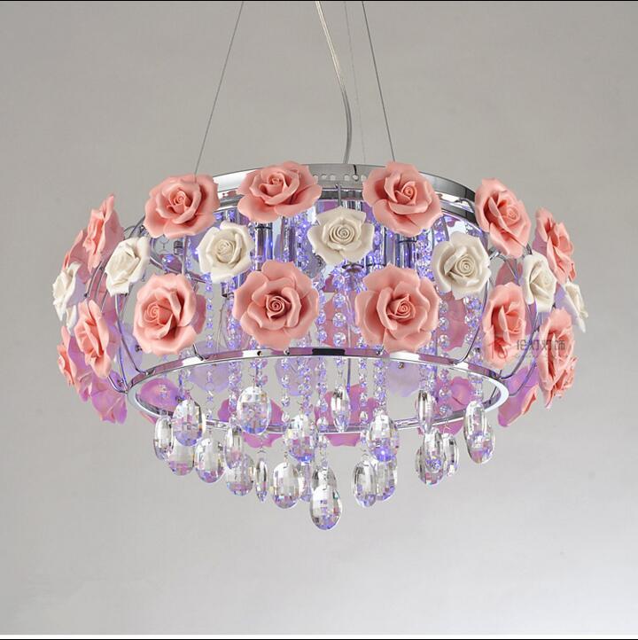 Современная форма цветка стекло кристалл ресторан люстра свет розы в форме абажур Dia 480 мм Бесплатная доставка PL052
