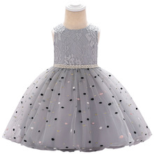 Childrens Birthday Princess Party Dress Girl Baby Wave Point Mesh Bridesmaid Elegant Clothes