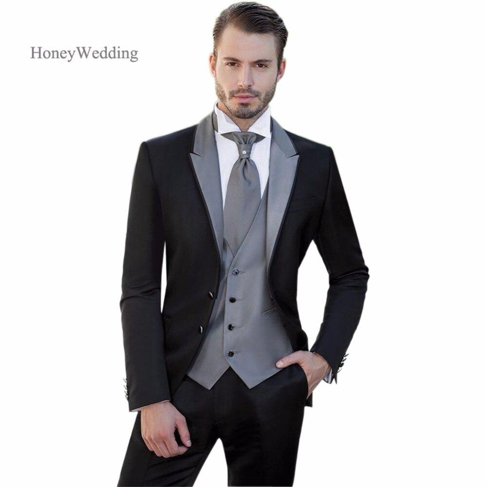 New man groom wedding party suit men's suits for the wedding dress business 2018 Portland (coat + pants + vest)