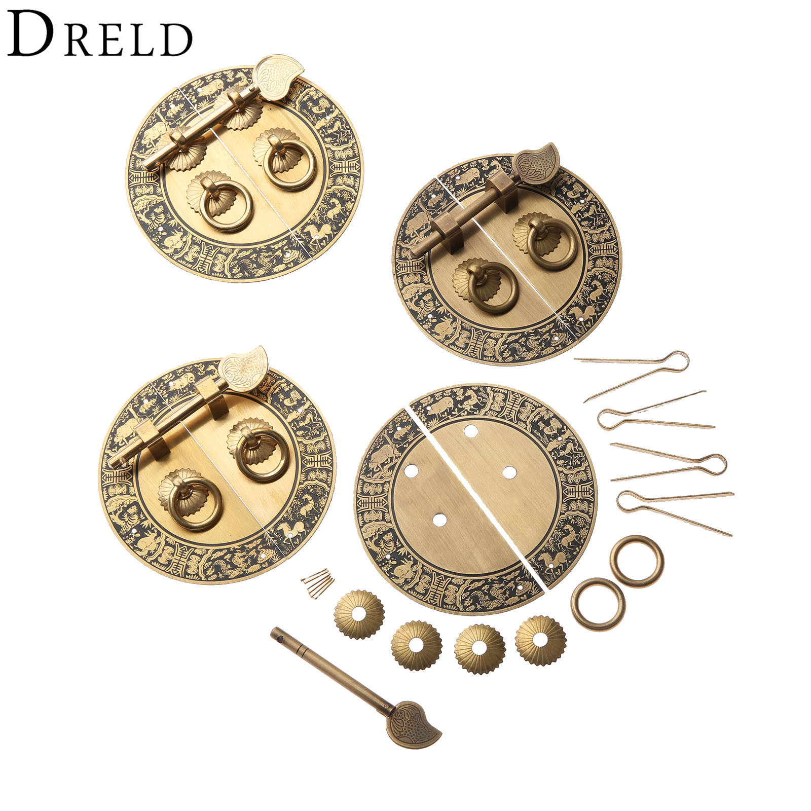 DRELD Chinese Antique Furniture Hardware Brass Round Vintage Pull Handle Knobs for Door Cupboard Wooden Box Round Copper LockDRELD Chinese Antique Furniture Hardware Brass Round Vintage Pull Handle Knobs for Door Cupboard Wooden Box Round Copper Lock