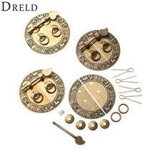 DRELD Chinese Antique Furniture Hardware Brass Round Vintage Pull Handle Knobs for Door Cupboard Wooden Box Round Copper Lock
