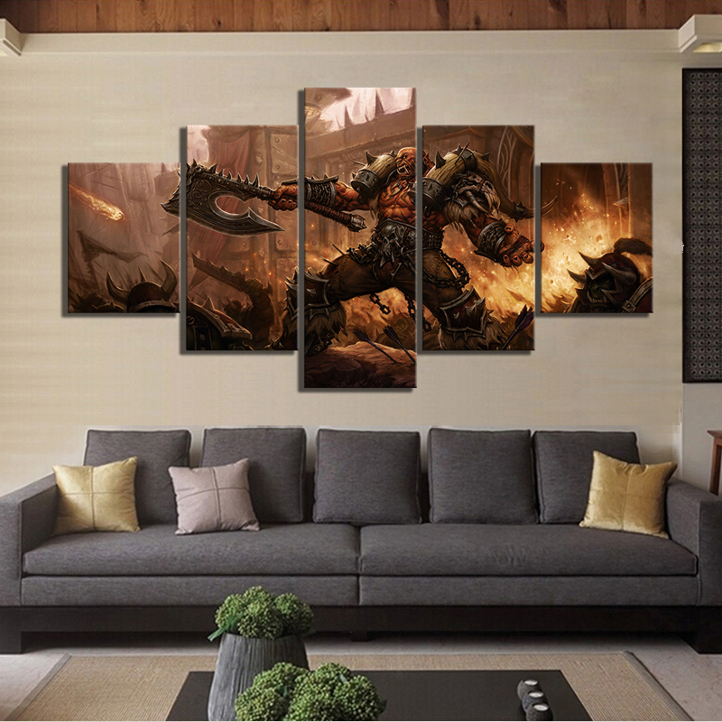 5 Piece World of Warcraft Garrosh Hellscream Game Poster Canvas Oil Painting Wall Art for Living Room Decor 2