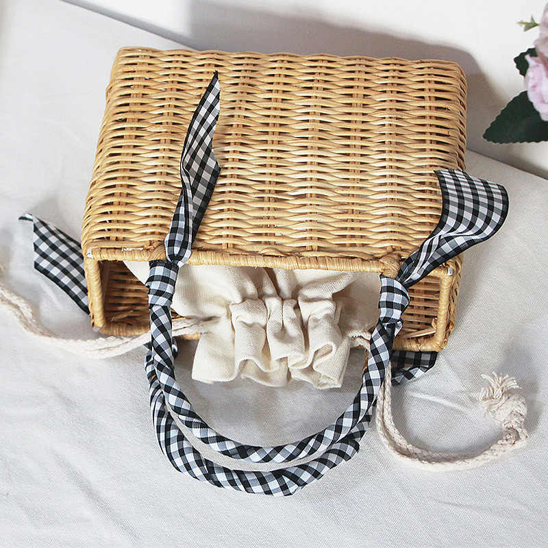 Feitas à mão Sacos De Palha Rattan Alça Superior Mulheres Crossbody Sacos De Tecido Bolsas Retro Corda de Palha de Malha Praia Boêmio Saco de Embreagem