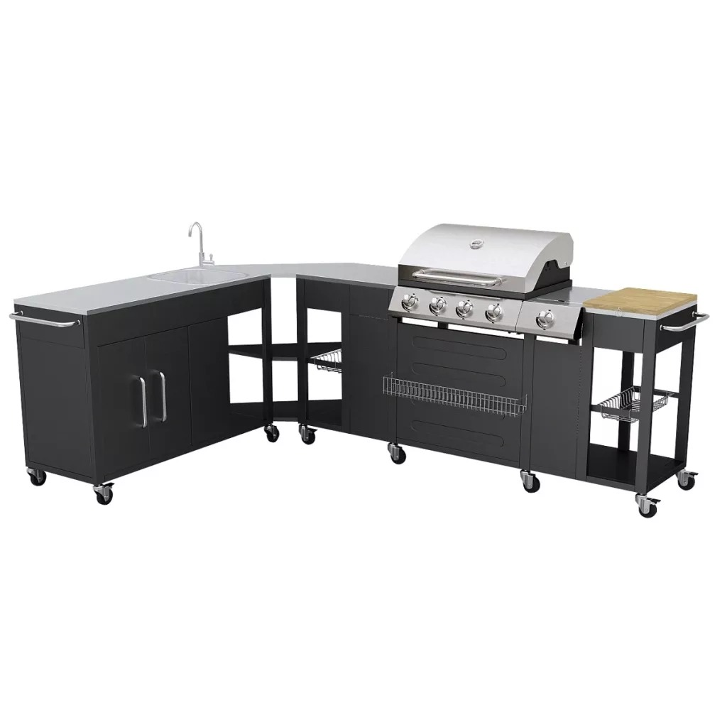VidaXL Stainless Steel Barbecue Grill Flexible Frame BBQ Grill With 4 Powerful Burners Cooking Grid For Home Park