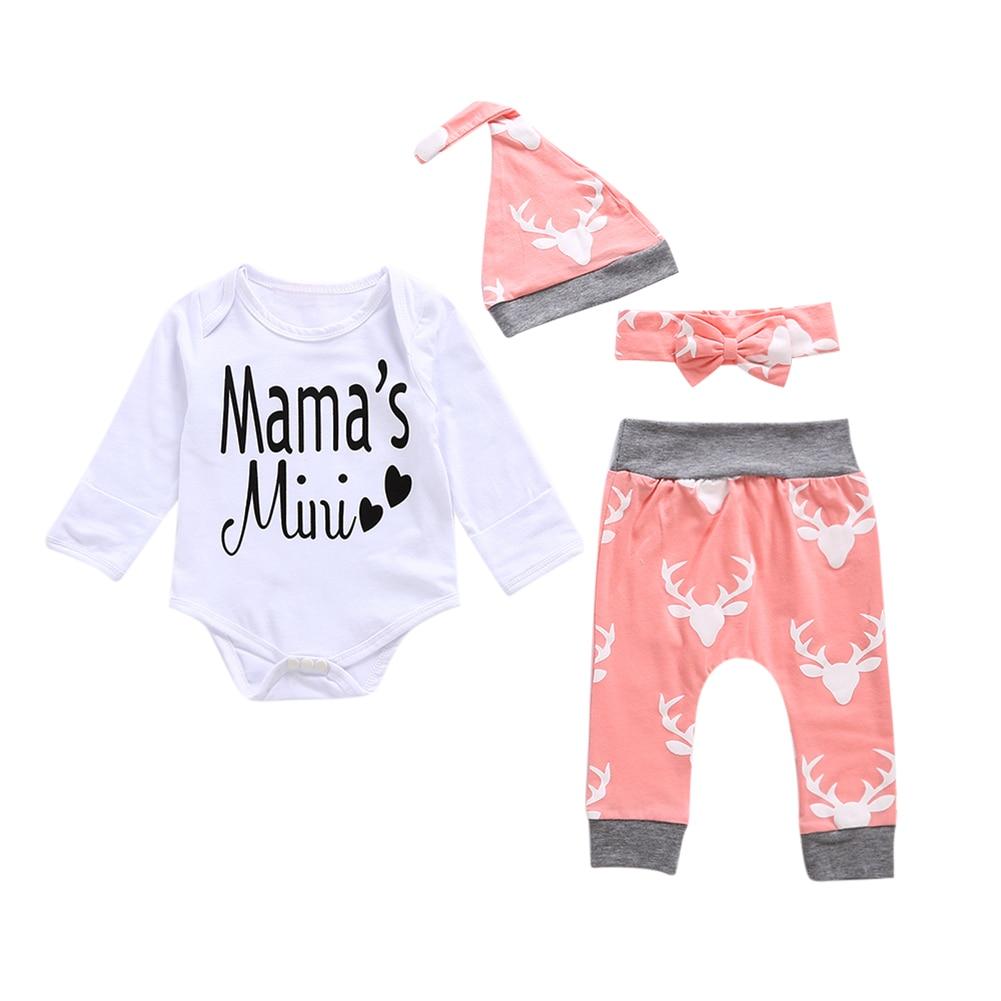 4pcs Baby Clothes Set Cotton Letter Print Romper+Pants+Hat+Headband Fashion Baby Boys Girls Clothes for 0-18M