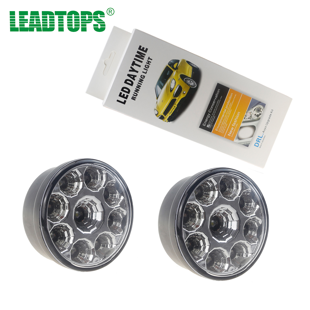 LEADTOPS 2PCS 9W 9 LED Daytime Running Light Waterproof Round Fog Light LED Auto DRL 12V White DIY Cree Chip for All Cars EJ free ship g4 hp24w 9w amber white led daytime running lights for cars peugeot 3008 led drl light